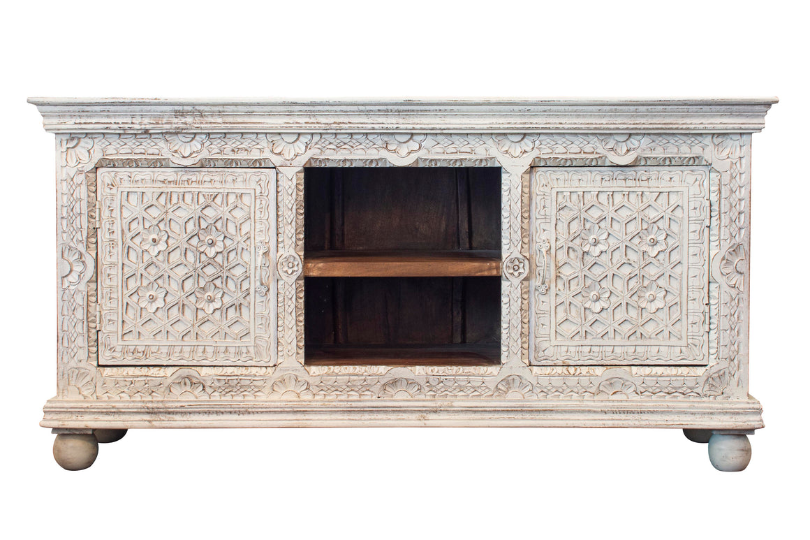 White Indian carved sideboard
