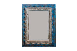 Large blue and white carved mirror