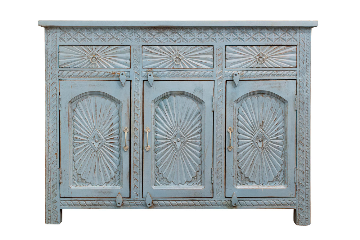 Blue Carved Sunburst Sideboard