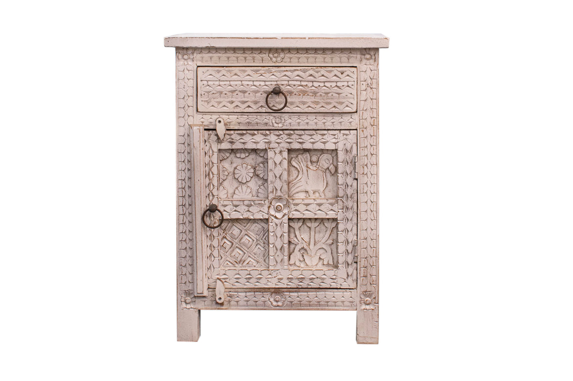 New White Carved Bedside cupboard