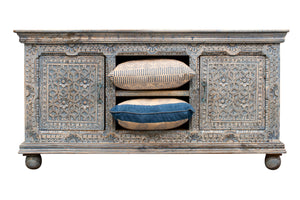 Pale blue Indian carved sideboard