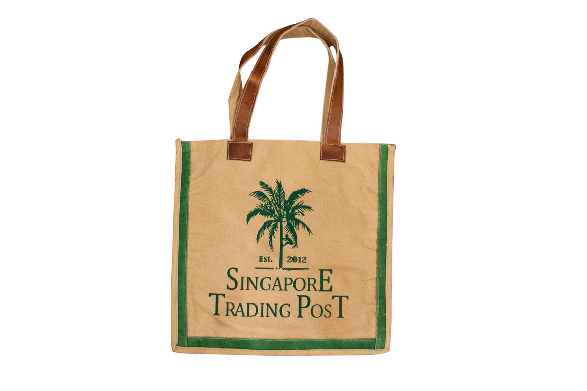 New Canvas shopping bag with green print