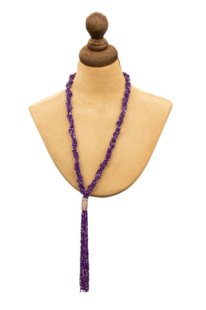 Purple tassel bead necklace