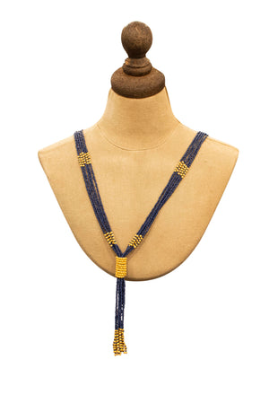 Blue and yellow tassel hippy necklace