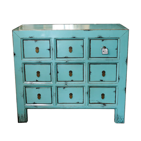 Blue cabinet with 9 drawers