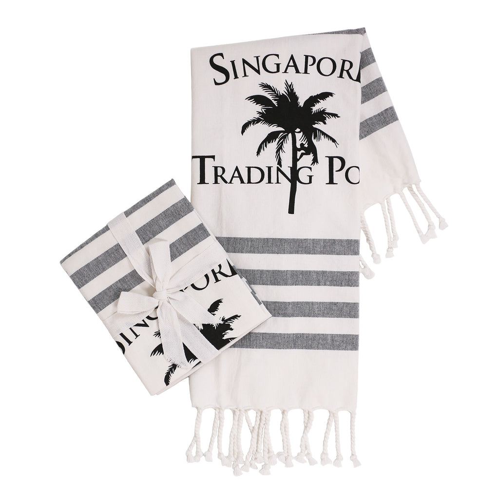 The original palm tree tea towel in black & white - set of 2