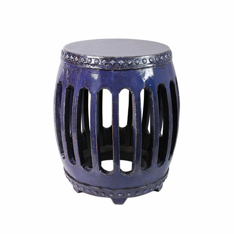 Dusty blue elmwood stool