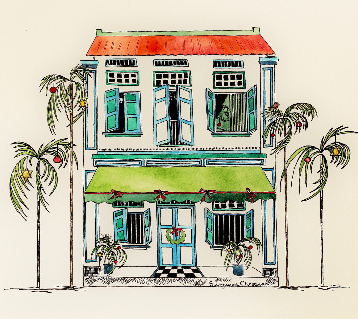 singapore christmas card shophouse