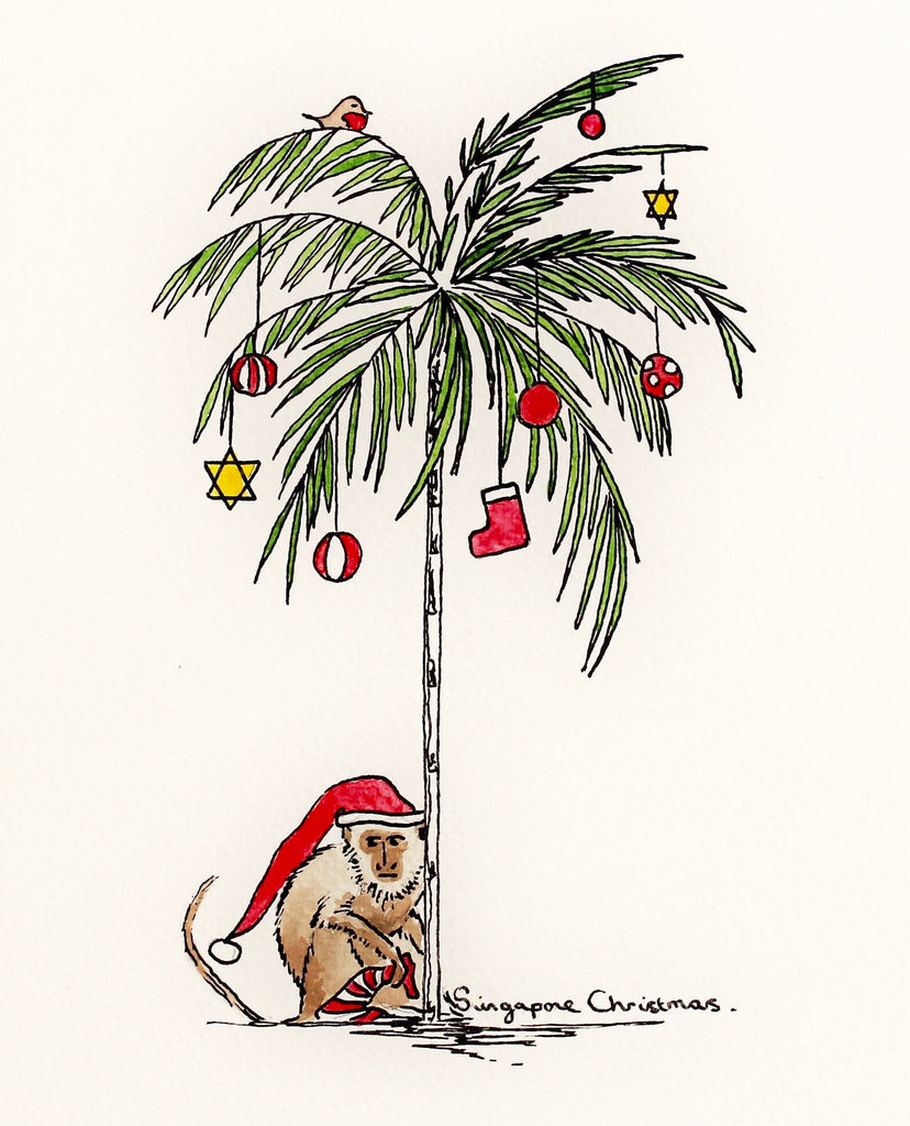 singapore christmas card palm tree monkey