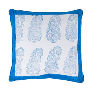 Buy one get one Free - Indian paisley cushion with blue border - small