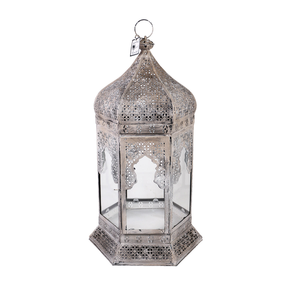Large antiqued white metal lantern
