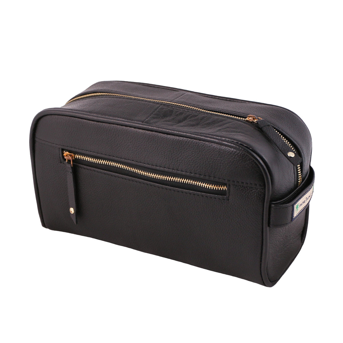 mans leather wash bag