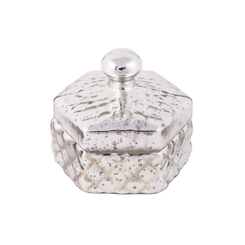 Silver glass jar with lid