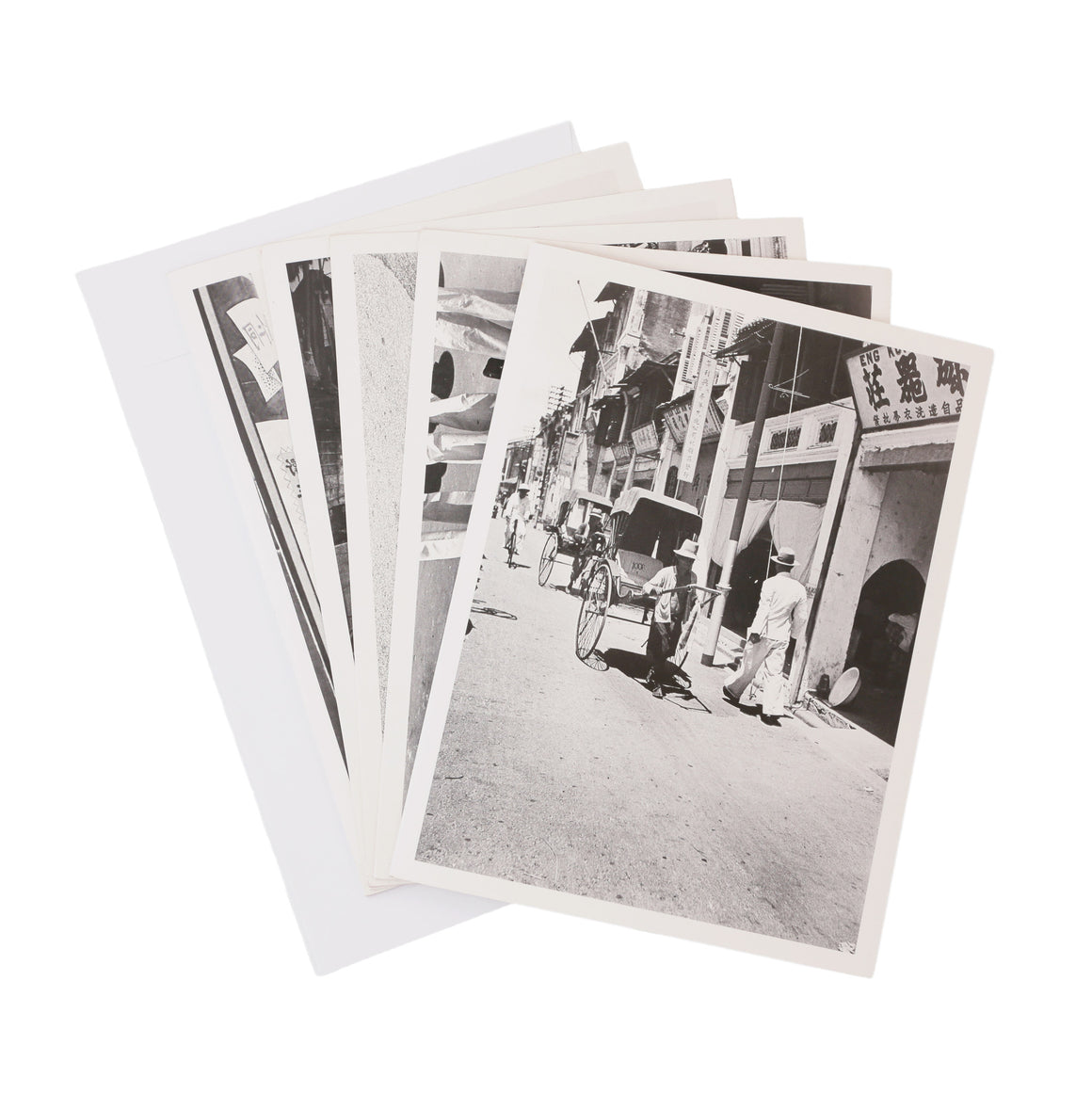 set of 5 black & white postcards of Singapore from original 1930's negatives