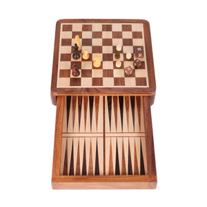 Wooden magnetic chess and backgammon set