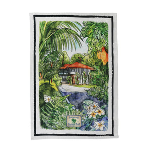 black and white house tea towel