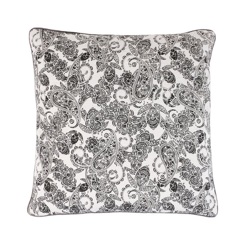 Black and white Linen Paisley