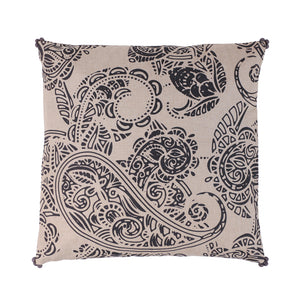 Charcoal print paisley cushion
