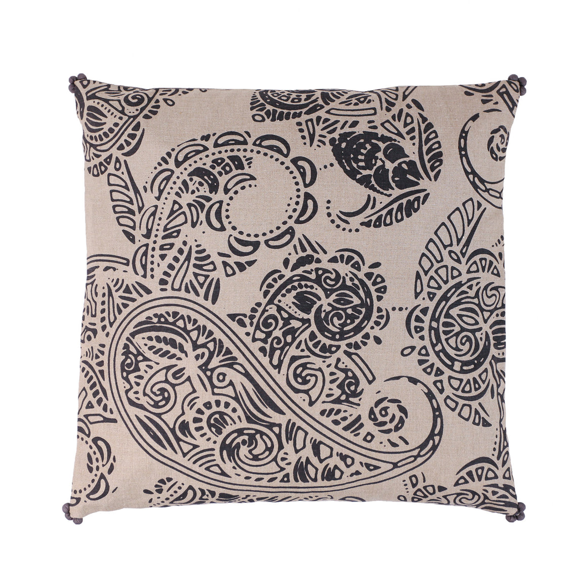 Buy one get one Free - Charcoal Print Linen Paisley
