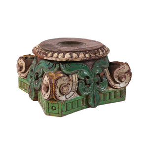 Carved candle stand Rajasthan - green
