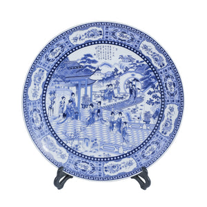 Deco white & blue plate on a stand