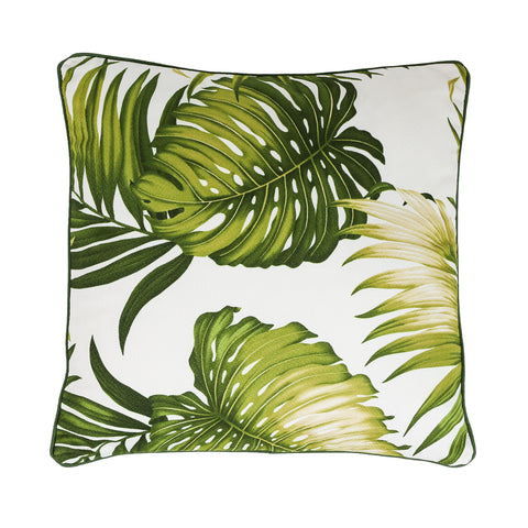New fern design bark cloth tropical cushion - small