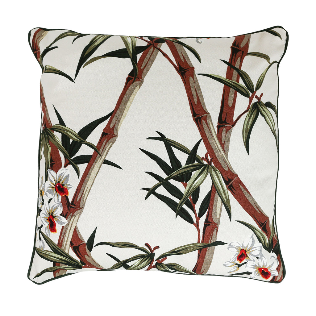 Bamboo design bark cloth tropical cushion - small