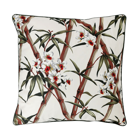 Bamboo design bark cloth tropical palm cushion - large.