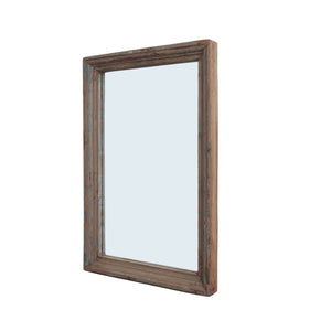 Medium painted Indean teak mirror with teal paint