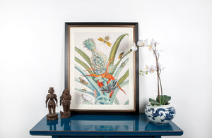 Framed and mounted floral and pineapple print