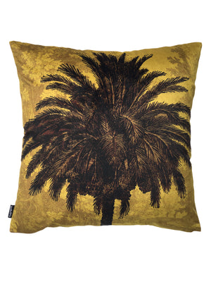 Lush palm cushion in soft gold