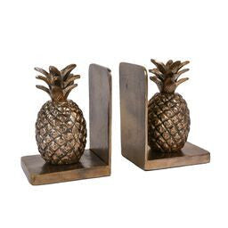 Pineapple brass bookends