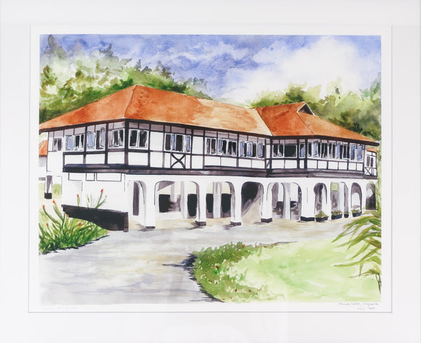 Unframed print of a black and white house Singapore