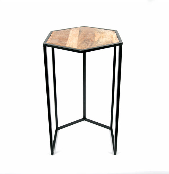 Nest of octagonal high wood tables