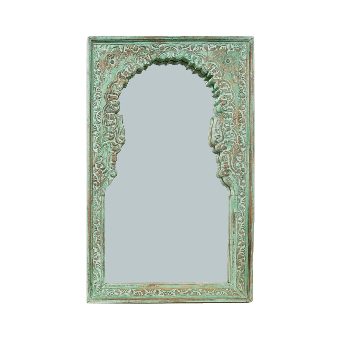 green carved mirror