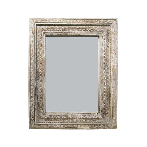 Large white carved mirror