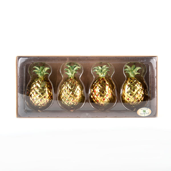 set of christmas glass pineapple baubles