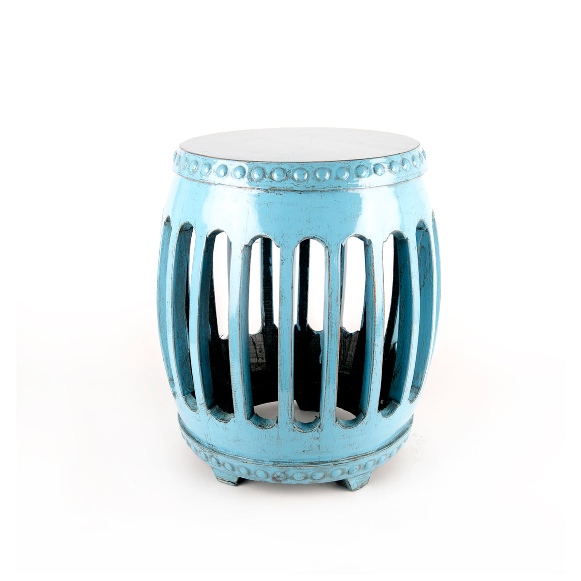 Powder blue elmwood stool