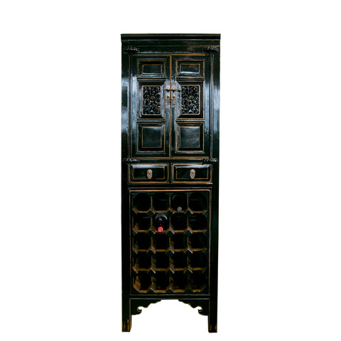 Tall black Chinese elmwood bar cabinet