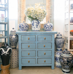 Dusky blue chest of drawers