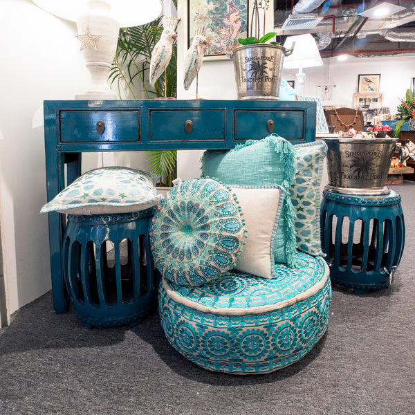 Teal blue chinese console