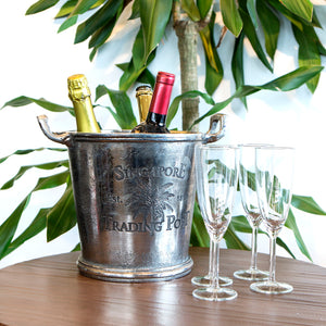 Silver finish ice bucket with handles - small