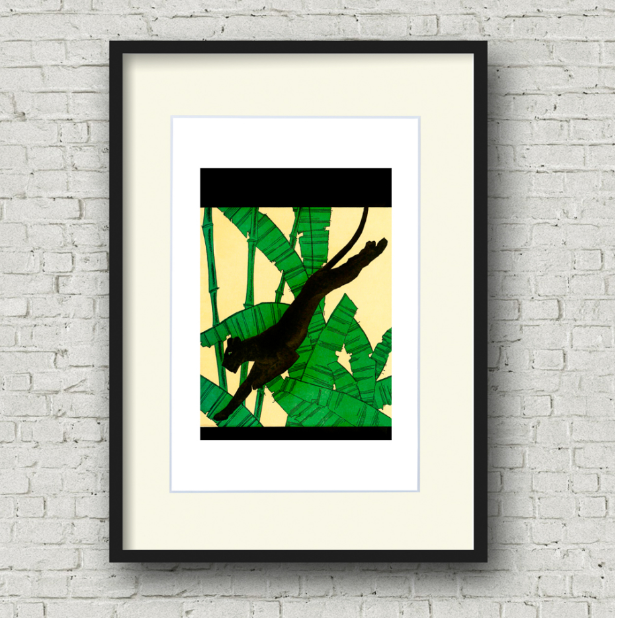 Framed panther on the run art print