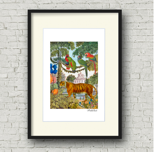 Framed tiger in town art print