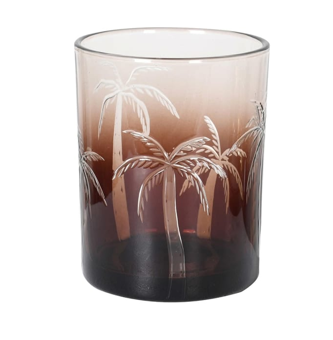 brown palm candle holder