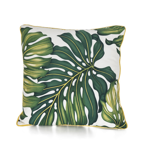 Papaya leaf style cotton canvas cushion with white piping, small.