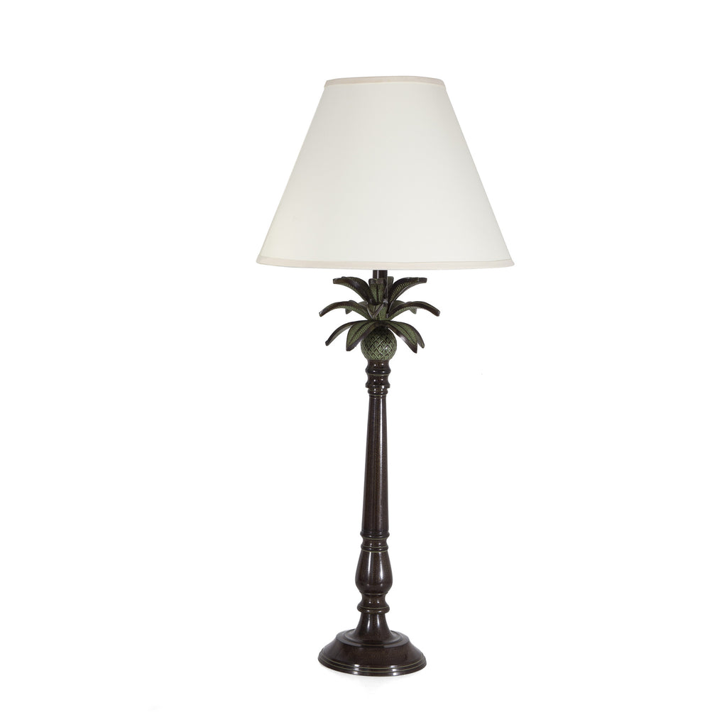 Large Metal Lamp Shade: Large Metal Palm Tree Table Lamp With Cream Shade