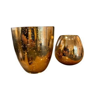 Small gold glass candle holder