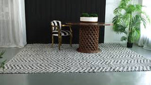 Black and white cotton rug