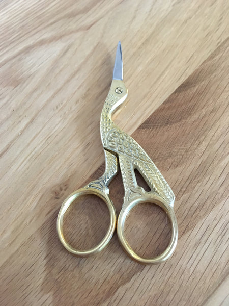 "4"" Stork Gilt Handle Scissors - etui coterie"